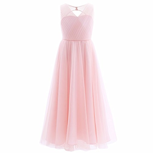 FEESHOW Big Girls Flower Junior Bridesmaid Wedding Gown Party Maxi Long Flowy Dress Pink (Dresses For Kids 10-12)