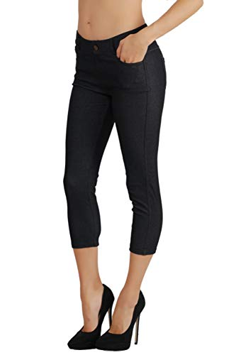 Fit Division Women's Jean Look Cotton Blend Jeggings Tights Slimming Full Lenght Capri and Classic Bermuda Shorts Leggings Pants S-3XL (2X US Size 16-18, FDJN096-BLK)