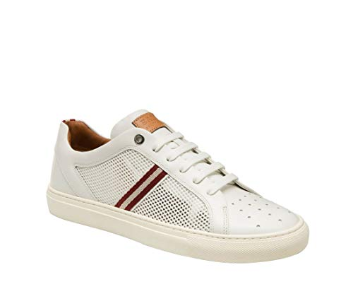 BALLY Men's White Calf Leather Sneakers with Red Beige Herk-U-07 (11D US)