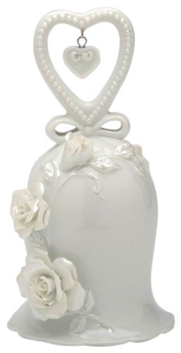 Appletree Design The Perfect Wedding White Rose Bell Heart, 5-Inch Tall, Includes Clapper Porcelain Wedding Bell