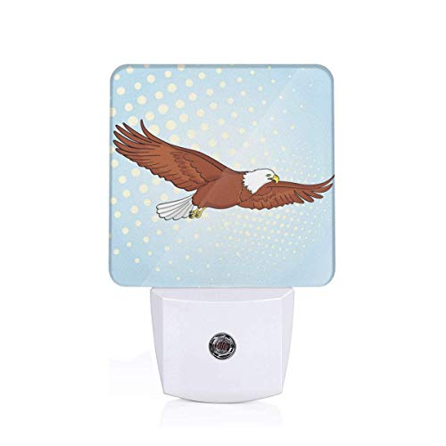 Colorful Plug in Night,Pop Art Half Toned Background Falcon Retro Comic Style Illustration,Auto Sensor LED Dusk to Dawn Night Light Plug in Indoor for Childs Adults