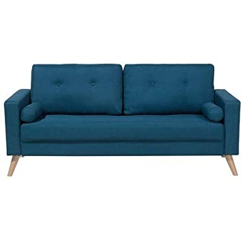 Beliani Sofá tapizado de 2 plazas Azul Oscuro Kalmar: Amazon ...