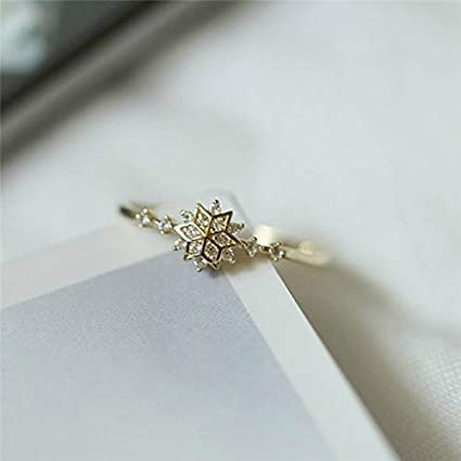 4cac473820d324 Image Unavailable. Image not available for. Color: Nutchanan Cute Women's  Snowflake Rings Female Chic Dainty Rings Party Delicate Rings Wedding  Jewelry ...