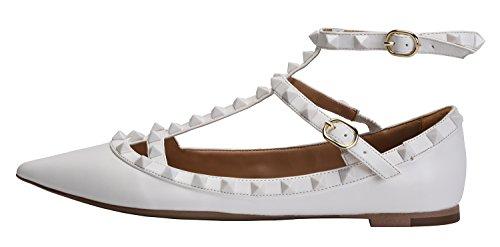 Camssoo Mujeres Metal Studs Strappy Buckle Planos Del Dedo Del Pie Puntiagudo Cómodo Vestido Bombas Zapatos All White Soft Pu