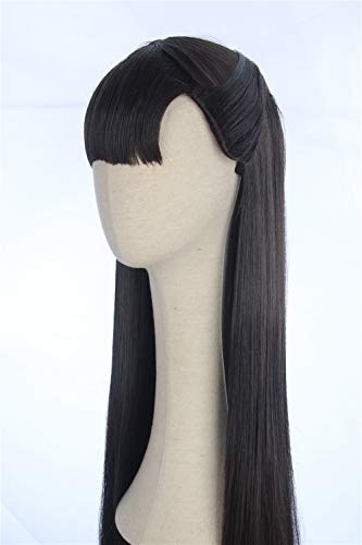 CosplayWigsCom: Silk Spectre II Laurie Wig Inspired by Watchmen Long Black Straight Hair with Bangs and Half-up Costume Cosplay Synthetic Hair for Women]()