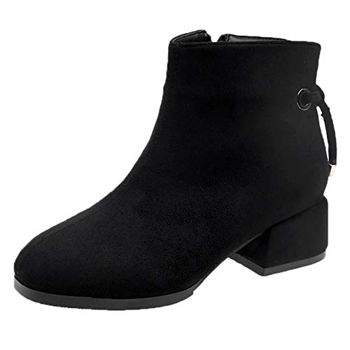 Tootu Women Martin Boots Zipper Boot Round Toe Suede Wedges Solid Color Shoes
