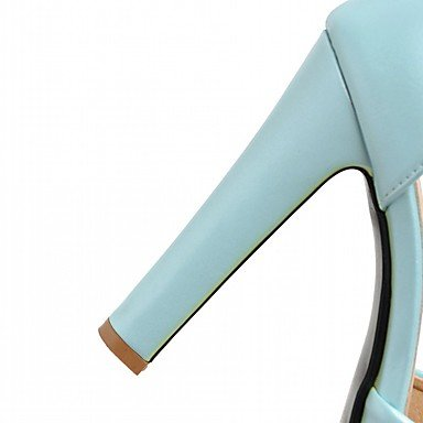 LvYuan Mujer Sandalias Semicuero PU Verano Otoño Paseo Hebilla Tacón Robusto Blanco Beige Azul Rosa 10 - 12 cms Blue