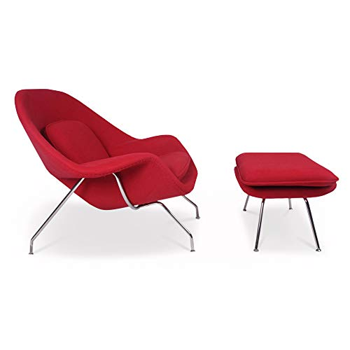 ARTIS DÉCOR Womb Chair and Ottoman - Premium Cashmere Wool Fiberglass Frame - Red (Molded Fiberglass Lounge Chair)