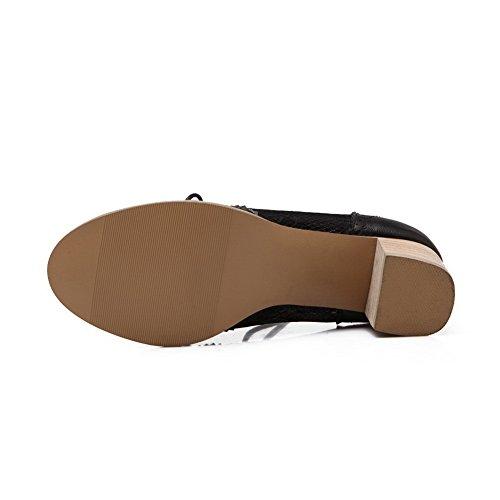 BalaMasa da donna lace-up kitten-heels solido morbido materiale pumps-shoes, Nero (Black), 35