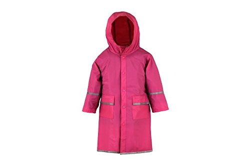 Fabugears Boys/Girls Kids/Juniors Rain Coat Whit Reflector, Full Length Long Hooded L(10-12) Pink