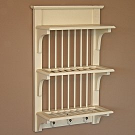 Wall Mounted Plate Rack Shabby Chic Amazoncouk Kitchen Home - wall mounted kitchen shelves uk