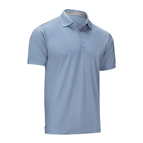 - Mio Marino Golf Polo Shirts for Men - Regular-fit Quick-Dry Mens Athletic Shirts (Denim Blue, X-Large)