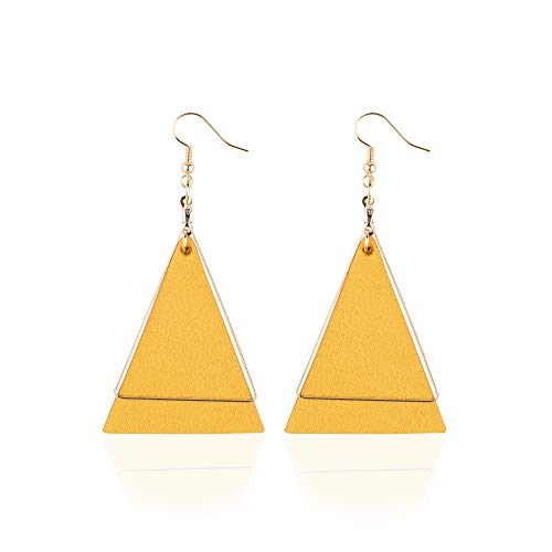 Genuine Leather Statement Earrings Triangle Geometric Leather Dangle Drop Geometric Lightweight for Women Girls (Yellow 1)