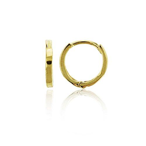 14K Yellow Gold High Polished 1.20x9.00mm Plain Baby Huggie Earrings