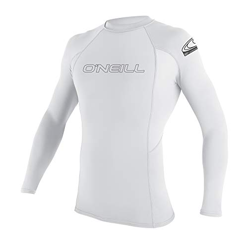 O'Neill Youth Basic Skins UPF 50+ Long Sleeve Rash Guard, White, 14
