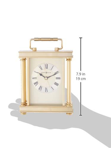 Howard Miller 645-584 Audra Table Clock - TABLE CLOCK: The Audra Table Clock has a brushed and polished brass finish with a decorative handle, turned brass button feet, and columns to compliment your home decor. The clock's quartz movement makes a soft ticking noise without the use of chimes for a quieter environment. DURABLE: This indoor carriage clock is created to last. It has a sturdy metal frame to relieve stress in a busy household. Place it in your kitchen, office, bathroom, bedroom, living room, and more. HIGH QUALITY: The enduring design shows traditional Roman numerals, with IIII instead of IV, to become a home essential. Easily tell time with circular, diamond-cut numeral ring, black hands, brass second and alarm hands, and glass crystal to stand out over the brass-tone dial. - clocks, bedroom-decor, bedroom - 31SgFKG3CCL -