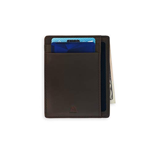 Andar Leather Slim Wallet, Minimalist Front Pocket RFID Blocking Card Holder Made of Full Grain Leather - The Scout (Dark Brown)