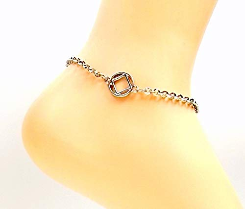 NA Drug Free Anklet Stainless Steel Recovery Ankle Bracelet All Sizes Mens Womens Sobriety Narcotics Anonymous