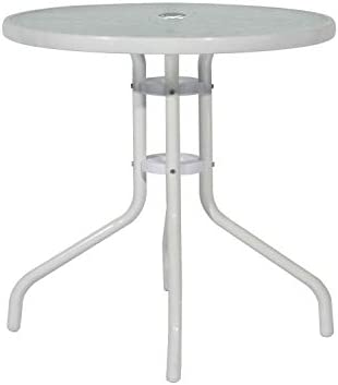 DlandHome 80CM Table Basse de Jardin Ronde avec Trou pour Parasol ...
