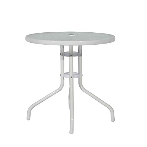 sogesfurniture 23.6 inches Patio Table Outdoor Table Bistro Table Outdoor Dining Table Coffee Table Outdoor Furniture Tempered Glass with Umbrella Hole, White, BHUS-RG-D-290-CT60