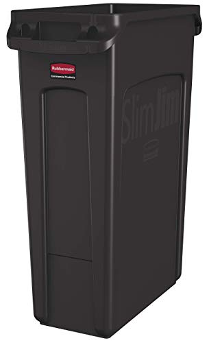 (Rubbermaid Commercial Products Slim Jim Plastic Rectangular Trash/Garbage Can with Venting Channels, 23 Gallon, Brown (1956187) (Renewed))