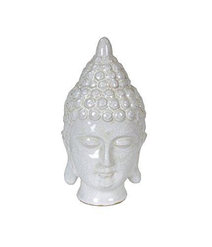 (Sagebrook Home 10900 Ceramic Buddha Head, White Ceramic, 4.75 x 4.5 x 9.25 Inches)