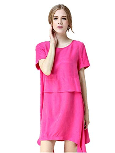 Rosa solido Da Abito Dress Large fashion Dimensione Summer Rosa Donna colore Spring 8qEdwEr