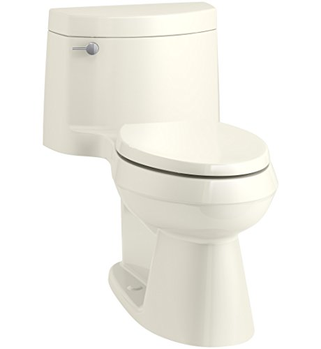 (KOHLER K-3619-96 Cimarron Comfort Height One-Piece Elongated 1.28 GPF Toilet with AquaPiston Flush Technology, Concealed Trapway, and Left-Hand Trip Lever, Biscuit)