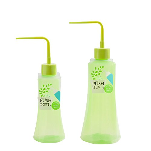 Mkono 2Pcs Succulent Watering Bottles Water Can Plastic Bend Mouth Squeeze Bottle - 250ML & 500ML - Green ()