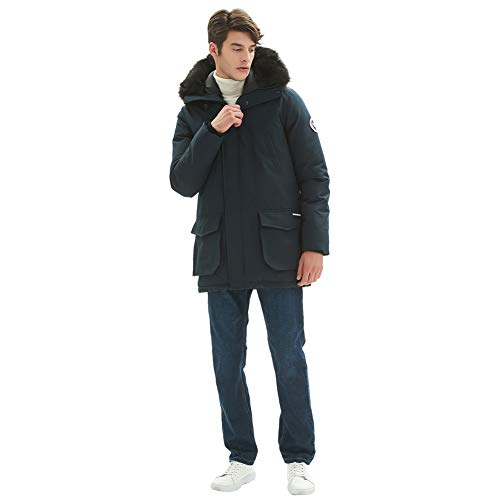 PUREMSX Heavy Weight Jacket, Men's Super Thick Lining Wind-Resistant Trench Coat Patch Hooded Insulated Arctic Dress Parka Coats Men with Faux Fur Hood Jackets for Men,Navy,Medium