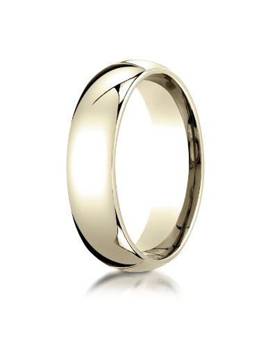 PriceRock 18K Yellow Gold 6mm Slightly Domed Standard Comfort-Fit Wedding Band Ring for Men & Women Size 4 to 15