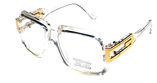 33b875a69ed8 Amazon.com  Large Classic Retro Square Frame Clear Lens Glasses with Gold  Accent (Clear Gold)  Clothing