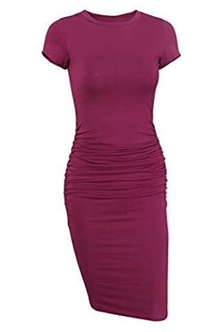 Missufe Women's Ruched Casual Sundress Midi Bodycon Sheath Dress (Large / X-Large, Purple Red) (Midi Cotton Dress)