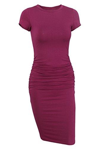 Missufe Women's Ruched Casual Sundress Midi Bodycon Sheath Dress (Purple, Small)