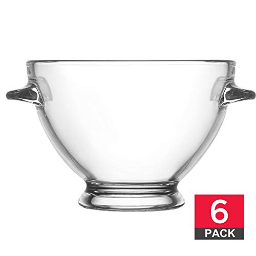 (Glass Bowls for Snacks, Dessert Bowl and Candy Dishes, Decorative Soup Bowl, 13 ¼ ounce Capacity, Set of 6)