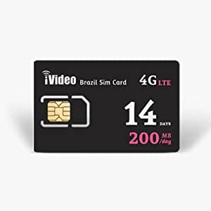 Brazil SIM Card Prepaid Unlimited Data 14 Days 200MB in 3G Speed