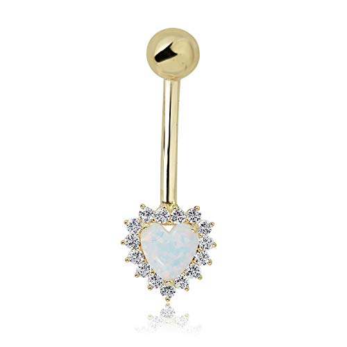10K Yellow Gold Created Opal Heart with Simulated Diamond CZ Frame Dangle Belly Button Ring Body Jewelry - 014 -