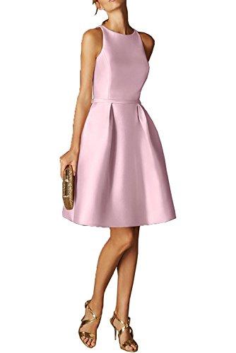 Rosa Abendkleider La Partykleider Champagner mia Mini Einfach Kurz Satin Festlichkleider Braut Cocktailkleider wqrqU6XP