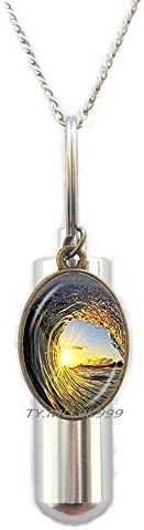 Yao0dianxku Waves and Sunset Locket Pendant,Wave Locket Necklace,Surf Surfing Ocean Jewelry,Surfing Locket Pendant,Glass Cabochon.Y066