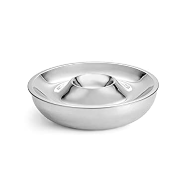 Artisan 2-Piece Stainless Steel Serving Bowl with 2-Section Top Tray and Insulated Lower Bowl