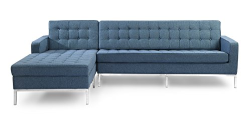 (Kardiel FKLSEC Azure Florence Knoll Style Left Sectional Sofa Houndstooth Twill)