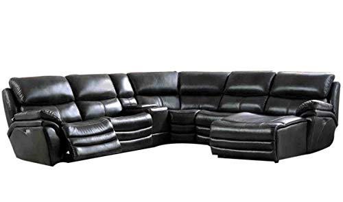 2711 Leather Right Hand Facing Sectional Sofa in Dark Gray