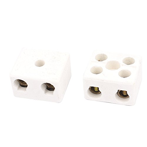 Uxcell a16030100ux0389 Cable Connector 2 Position 2 Row Ceramic Terminal Block, 220V, 30 Amp, 2 Piece ()