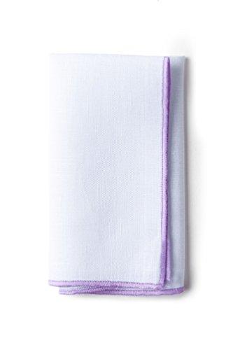 White Lilac Square - Purple Edged Linen White Linen Pocket Square