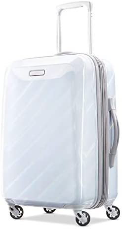 American Tourister Moonlight Hardside Expandable Luggage with Spinner Wheels, Iridescent White, Carry-On 21-Inch