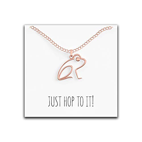 Happy Kisses Frog Necklace - Cute Pendant Gift - Sweet and Funny Message Card - Just Hop to It! - Great Gift Idea Perfect for Mom, Wife, Daughter, Friend or Girlfriend (Rose Gold) -