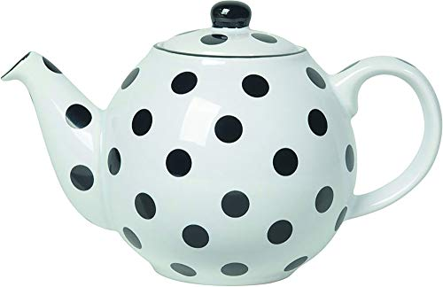 London Pottery Globe Polka Dot Teapot with Strainer, Ceramic, White/Black, 2 Cup (500 ml)
