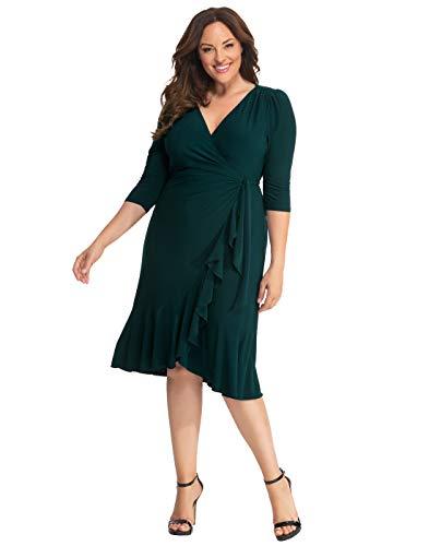 Kiyonna Women's Plus Size Whimsy Wrap Dress,Hunter Green,3X Plus
