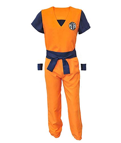 Krillin Halloween Costume (ZeroGoo Goku Costume Cosplay, Unisex Dragon Ball Z Costume Cloth with 4 Star DBZ Necklace for Kid Adult Men Women Christmas (Men M))