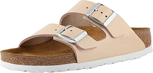 Birkenstock Women's, Arizona Leather Sandals - Narrow Width Natural 40 M ()